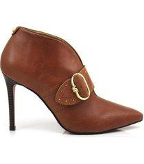 bota ankle boot verofatto salto fino couro feminino