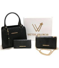 kit versalhes duas bolsas mais carteira victor valencia feminino