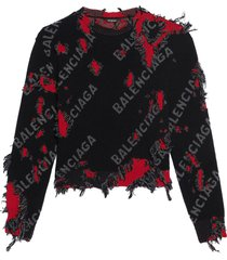 destroyed knit sweater black and red