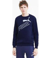 big logo sweater voor heren, blauw, maat xs | puma