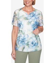 alfred dunner short sleeve textured lace front floral knit top