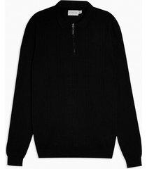 mens black pointelle zip sweater