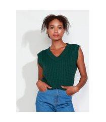 colete de tricô feminino mindset texturizado trança decote v verde escuro