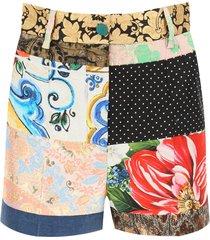 dolce & gabbana jacquard patchwork shorts