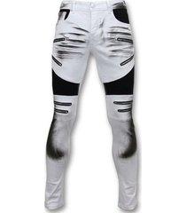 skinny jeans true rise fit damaged biker jeans broek