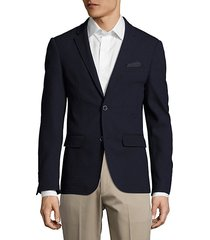 slim-fit wool textured blazer
