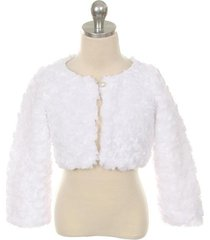 white cuddle fur bolero jacket with a pearl button winter party flower girl