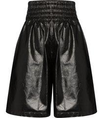 bottega veneta knee-length shiny leather shorts - black