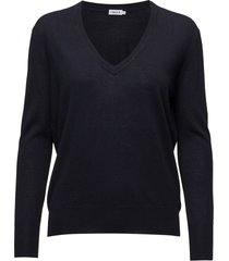 merino v-neck sweater gebreide trui blauw filippa k