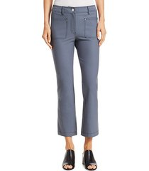top-stitched crop flare jeans