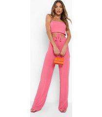 geribbelde wide leg jumpsuit met ceintuur, hot pink
