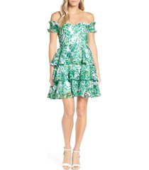 lilly pulitzer(r) cicely off the shoulder dress, size 2 in resort white flamingle at nordstrom