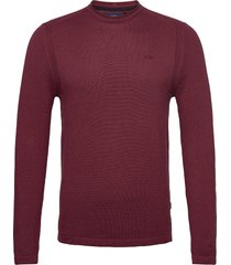 pullover stickad tröja m. rund krage röd blend