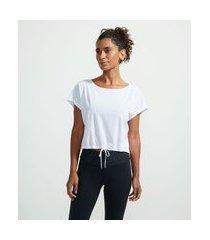 camiseta esportiva em poliamida com textura tela sem cava e com amarração | get over | branco | g