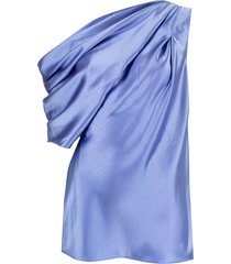 acler bonham draped one shoulder blouse - blue