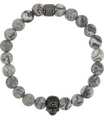 northskull skull and rock bracelet - grey