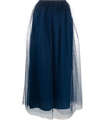 redvalentino point d'esprit tulle midi skirt - blue