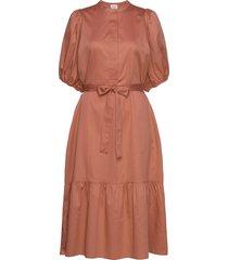 aimee ss midi dress knälång klänning orange second female