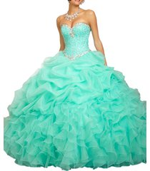 fanmu sweetheart beaded ball gown organza quinceanera dresses green us 16