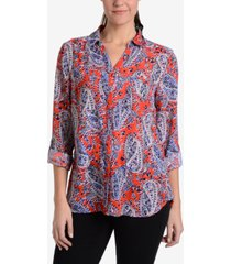 ny collection paisley-print blouse