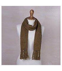 cable knit scarf, 'soft winter tan' (peru)
