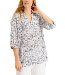 alfani printed split-neck tunic, created for macy's