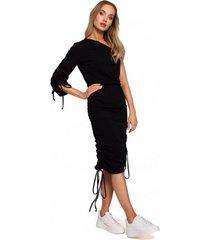 lange jurk moe m580 one shoulder ruched sides jurk - zwart