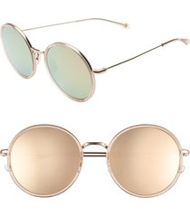 women's salt. audrey 56mm mirrored polarized round sunglasses - rose gold/ gold