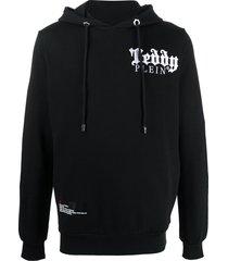 philipp plein embroidered teddy-print hoodie - black