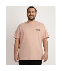 "camiseta masculina plus size  out of control"" manga curta gola careca rosa"""