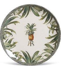 conjunto 6pã§s pratos rasos porto brasil coup pineapple branco/verde - branco - dafiti