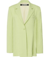 la veste tablier belted wool-blend blazer
