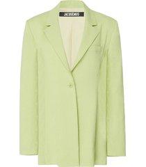 la veste tablier belted wool-blend blazer