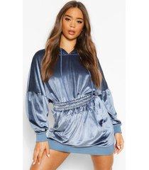 velours sweater jurk met geplooide middel en capuchon, dusty blue