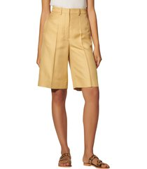 sandro horatio high waist shorts, size 4 us in gold at nordstrom