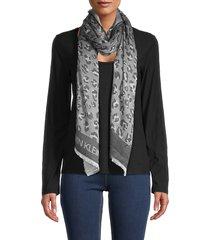 calvin klein women's tonal leopard-print scarf - black