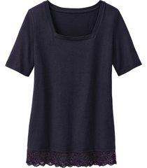 carré-shirt met kant, zwart 38