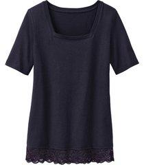 carré-shirt met kant, zwart 36