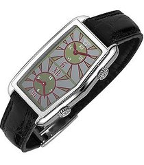versace designer women's watches, women's gray logoed dial leather dual-time watch