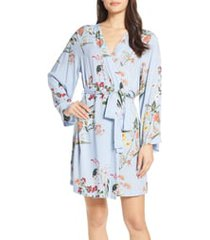 women's plum pretty sugar floral print short robe, size x-small - blue
