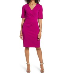 women's tahari pleat detail sheath dress, size 4 - pink