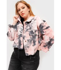 chaqueta missguided tie dye pleat back jacket co o multicolor - calce oversize