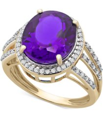 amethyst (4-1/2 ct. t.w.) & diamond (1/4 ct. t.w.) statement ring in 14k gold