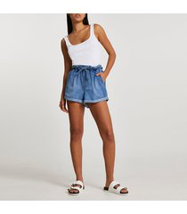 river island womens denim belted high waisted mom shorts