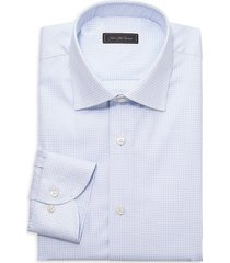 saks fifth avenue men's collection houndstooth dress shirt - light blue - size 17