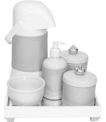 kit higiene espelho completo porcelanas, garrafa e capa coroa prata quarto bebê unissex