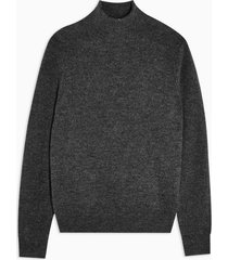 mens charcoal grey soft textured side zip funnel neck sweater