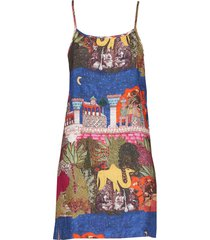 camel reversible slip dress multicolor