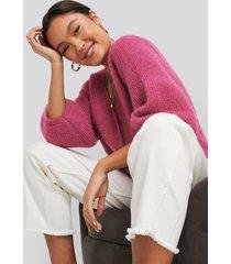 na-kd balloon sleeve short knitted cardigan - pink
