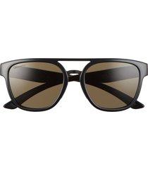 women's smith agency 54mm chromapop(tm) polarized flat top sunglasses - black /polarized gry grn